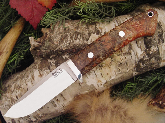 Нож Bark River Drop Point Hunter Salmon Black Elder Burl