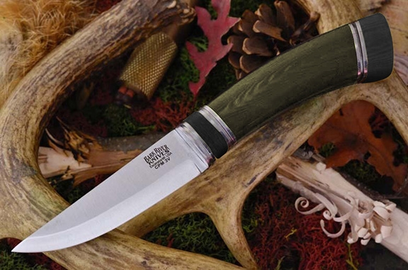 Нож Bark River Scandi Green Linen Micarta Black Paper Spacer