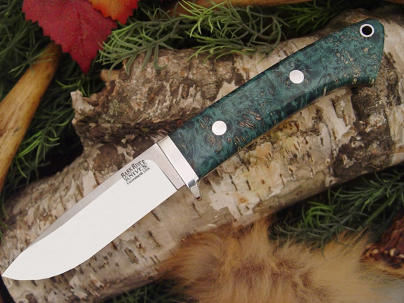 Нож Bark River Drop Point Hunter Teal Green Elder Burl